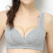 Sexy Low Plunge Cotton Front Open Gather Wireless Nursing Bras