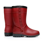 Red Waterproof Fur Lined Button Rain Boots