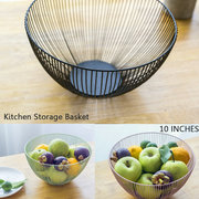 Iron Simple Nordic Style Fruit Basket  Food Container Snack Basket Green/Black Color