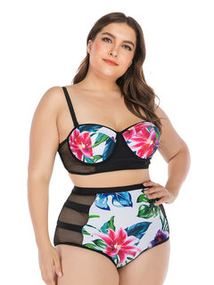 Plus Size Sexy Bikinis Push Up Tropical Floral Mesh Patchwork Breathable High Waist Women Swimsuits