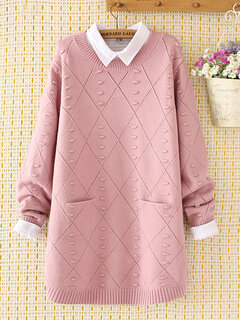 Hollow Knitted Pockets O-neck Sweaters for Women