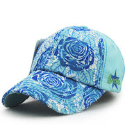 Women Vintage Cotton Flower Embroidery Baseball Cap Adjustable Golf Snapback Hat