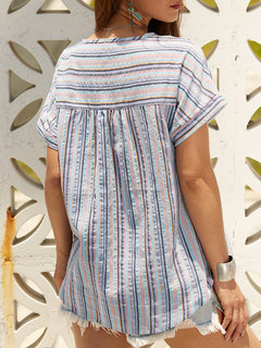 Bohemian Print Striped Short Sleeve Button Blouse