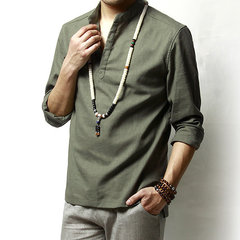 Camiseta de manga larga de lino de algodón de estilo chino para hombre Tops casuales de color sólido de moda