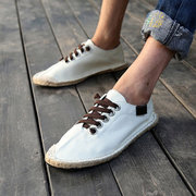Men Women Lover Canvas Pure Color Korean Style Lace Up Casual Shoes