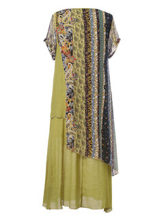 Bohemian Print Patchwork Layers Summer Plus Size Maxi Dress
