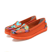 Flower Print Candy Color All Mtach Soft Comfortable Flat Slip On Shoes