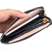 Genuine Leather Long Business Zipper Phone Wallet Clutch Bag For Men