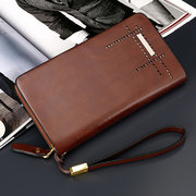 Men Faux Leather 5 Card Slot Phone Purse Solid Multi-function Clutch Bags
