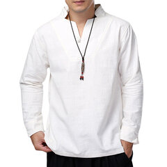 Vintage Chinese Style Cotton Stand Collar Solid Color Casual Loose T Shirts for Men