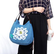 Hand Painted Lotus Handbags Casual Chinese Style Shopping Bags