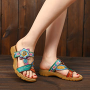 SOCOFY Soft Genuine Leather Hand Painted Floral Splicing Pattern Adjustable Hook Loop Sandals