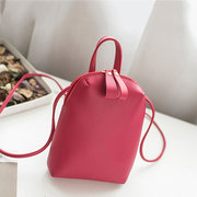 Women Pure Color PU Leather Bucket Bags Shoulder Bags Crossbody Bags