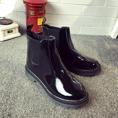 Black Waterproof Ankle Knight European Style Flat Boots
