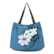 Brenice Hand Painted Flower Handbags Vintage Chinese Style Shopping Bags