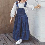 Casual Straps Pocket Denim Dresses For Girls 4-15 Years