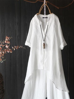 Embroidery V-neck High Low Vintage Plus Size Shirt