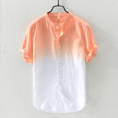 Mens Gradient Color Summer Short Sleeve Cotton Breathable Casual Shirt