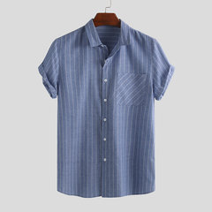 Mens Vintage Stripe Summer Short Sleeve Single-breasted Casual Shirt
