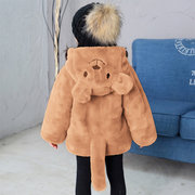 Милый медведь Уши и хвост девушки ватки зимние пальто для 3-11Y