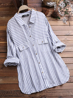 Vintage Lapel Striped Shirts with Pockets