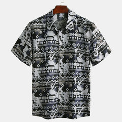 Mens Abstract Graffiti Printed Turn Down Collar Short Sleeve Casual Shirts