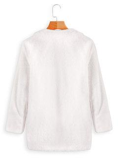 Kunstpelz Stehkragen Solid Color Long Sleeve Lässig Mantel
