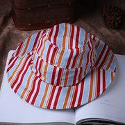 Mujer Vogue Stripe Sunscreen Bucket Ponytail Sombrero al aire libre Viajes plegables ocasionales Playa mar Sombrero