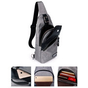 Oxford Chest Bag With Earphone Hole Casual Travel Single-shoulder Crossbody Bag For Men
