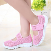 Girls Mesh Breathable Pure Color Hook Loop Casual Shoes
