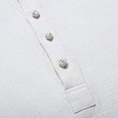 Vintage style chinois coton couleur unie lin ourlet irrégulier lâche occasionnels boutons t-shirts pour hommes