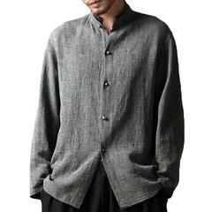 Camisa casual amplia vintage de lino de cuello subido para hombres