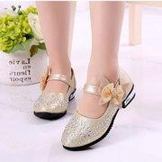 Girls Rhinestones Upper Bowknot Hook Loop Princess Dress Flat Shoes