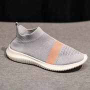 Plus Size Women Sports Light Knit Breathable Slip On Flat Sneakers Trainers