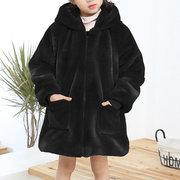 Espesar Fleece Girls con capucha bolsillos abrigos de invierno para 3Y-15Y