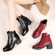 Metal Block Fur Lined Boot For Women