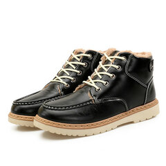 Men's Mteal Buckle High Top Lace Up Ankle Work Casual Snow Boots