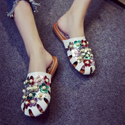 Beaded Closed Toe Hollow Out Backless Flat Slippers