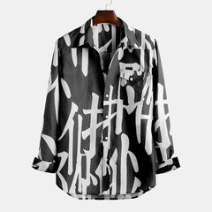 Mens Chinese Printing Chest Pocket Turn Down Collar Long Sleeve Casual Shirts