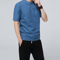 Mens Cotton Linen Style Chinese Retro Solid Color Stand Collar Summer Casual T Shirts