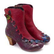 SOCOFY Vintage Pattern Splicing Sheep Leather Floral Zipper Comfortable Ankle Boots For Women
