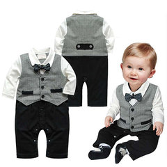 Grey Gentleman Boy Rompers Formal Suit For 6-24M