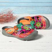 SOCOFY Hand Painted Genuine Leather Splicing Floral Stitching Adjustable Hook Loop Sandals