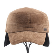 Men Corduroy Flat Service Cap Earflaps Baseball Cap Outdoor Windproof Warm Adjustable Hats