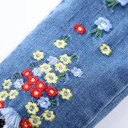 Flowers Embroidered Girl Jeans Spring Autumn Unedged Denim Pants For 2Y-11Y