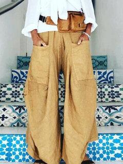 Pantalon décontracté ample de couleur unie irrégulière pour femmes