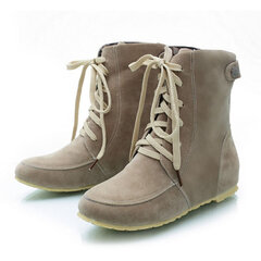 Big Size Button Ankle Heel Increasing Flat Lace Up Boots