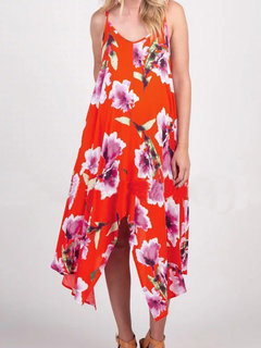 Maternity's Casual V-Neck Sleeveless Summer Asymmetrical Patchwork Floral Maxi Dresses