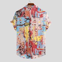 Mens lustige Graffiti Farbdruck drehen unten Kragen Kurzarm leichte Shirts