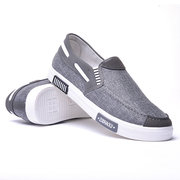 Men Canvas Splicing Flat Comfy Sole Slip On Casual Shoes